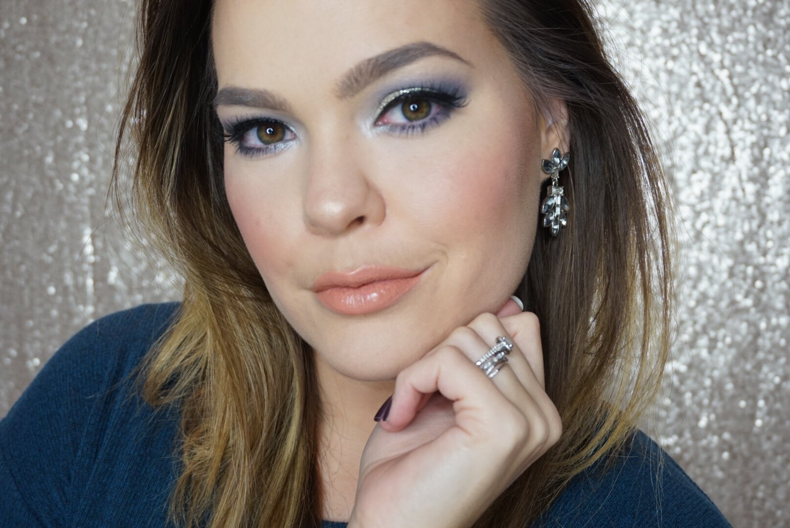 blue silver makeup look
