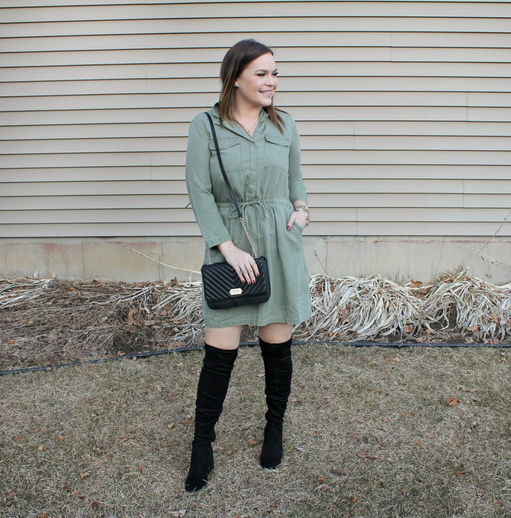 olive chambray dress