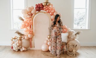 boho baby shower balloon arch floral dress